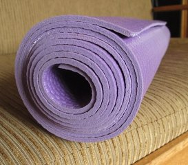 rolled yoga mat