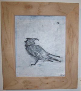 Raven Knows All, acrylic on birch, by Victoria Leader